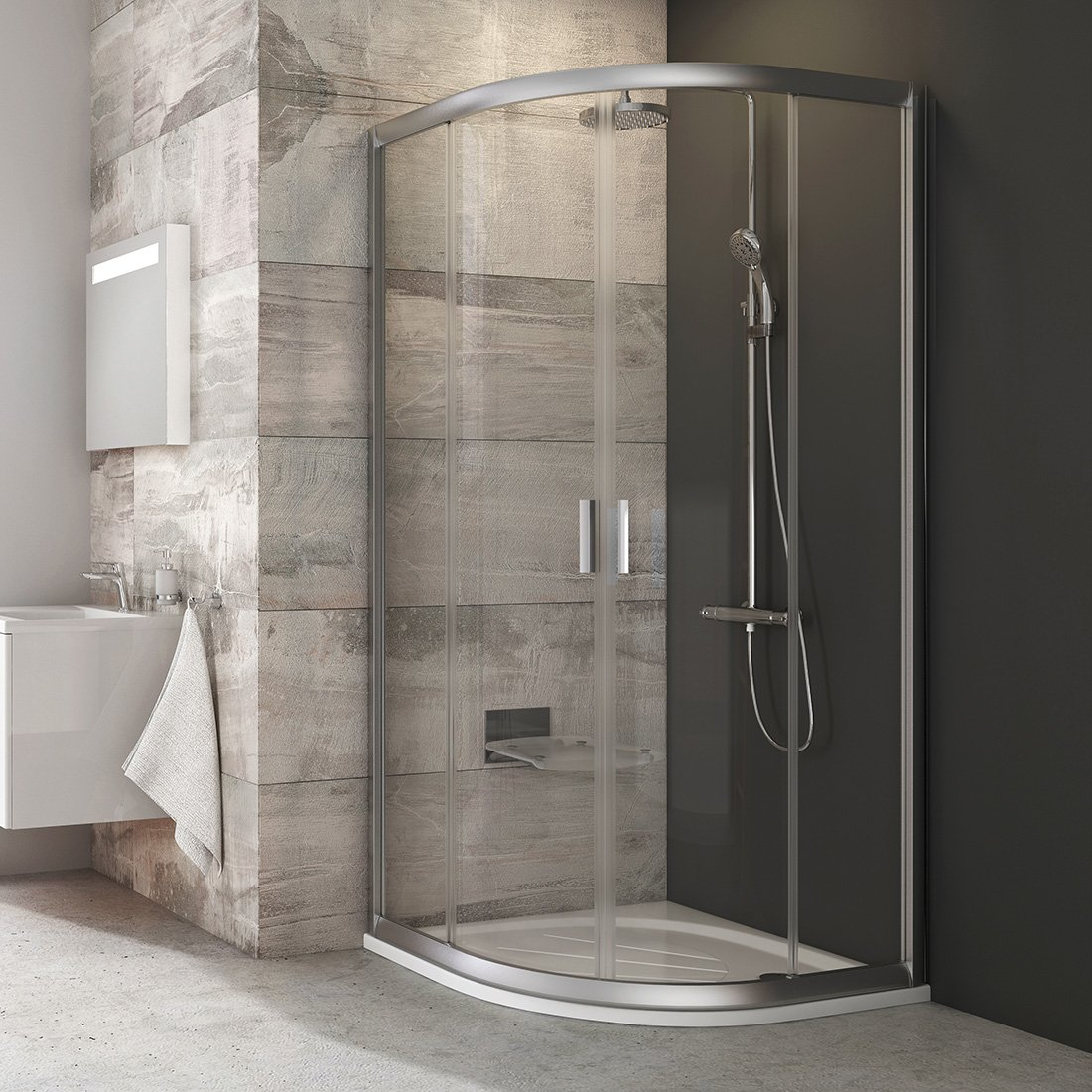 Pusapvalė dušo kabina Ravak Blix, BLCP4-90, satinas+stiklas Transparent