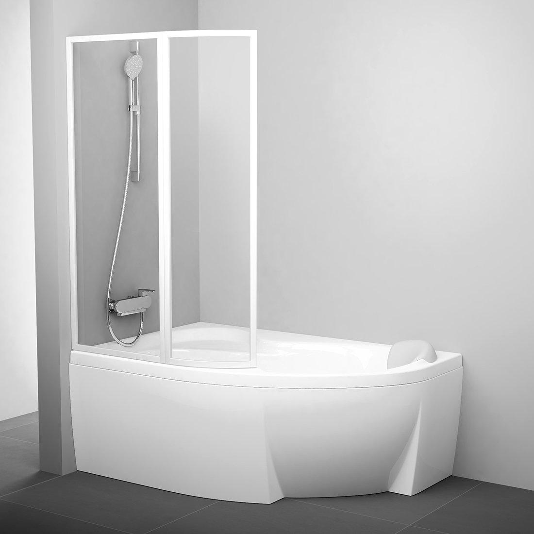 Vonios sienelė Ravak Rosa, VSK2 140, L balta+stiklas Transparent